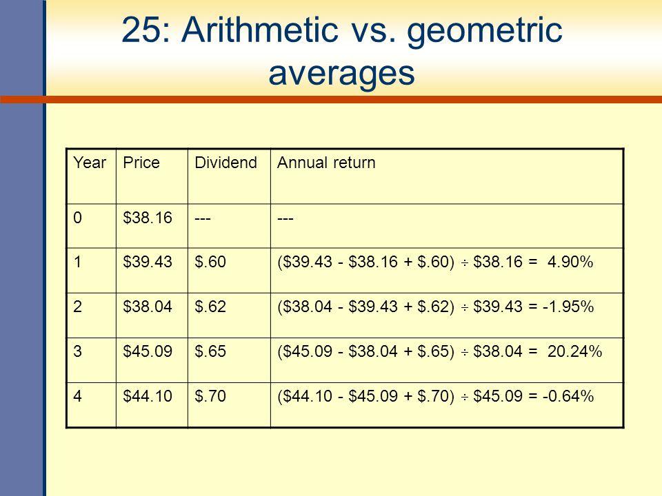 25: Arithmetic vs. geometric averages