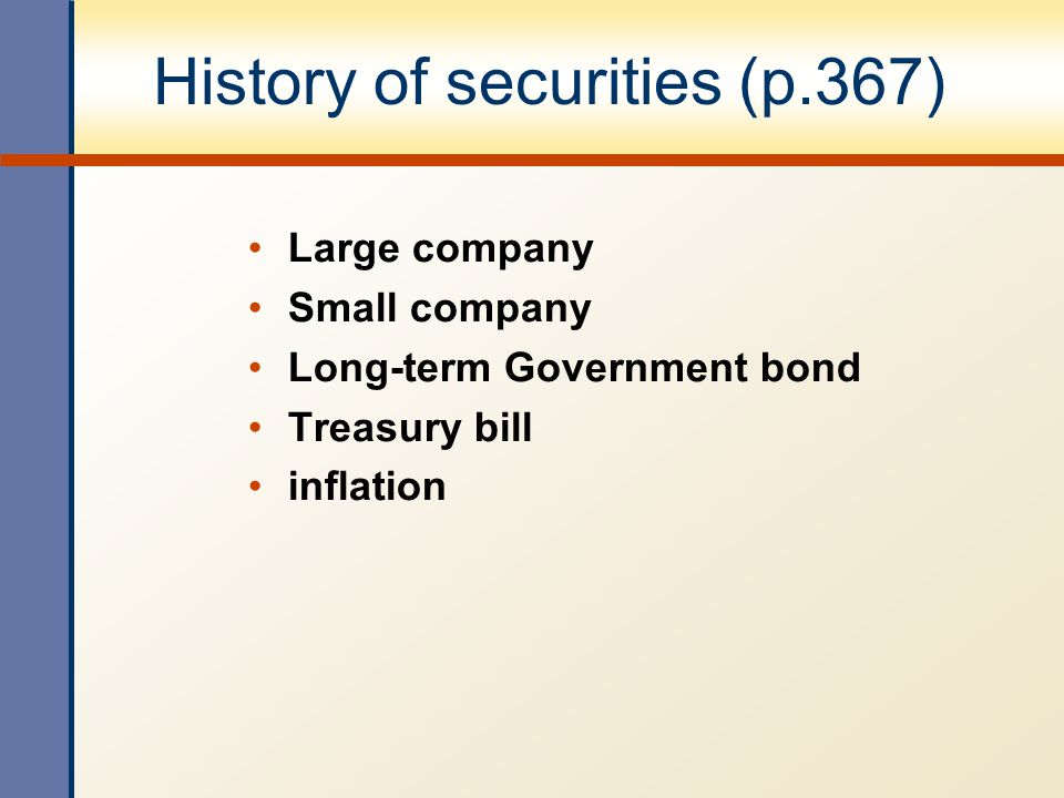 History of securities (p.367)