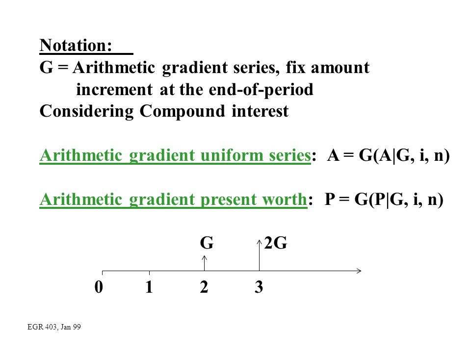 G = Arithmetic gradient series, fix amount