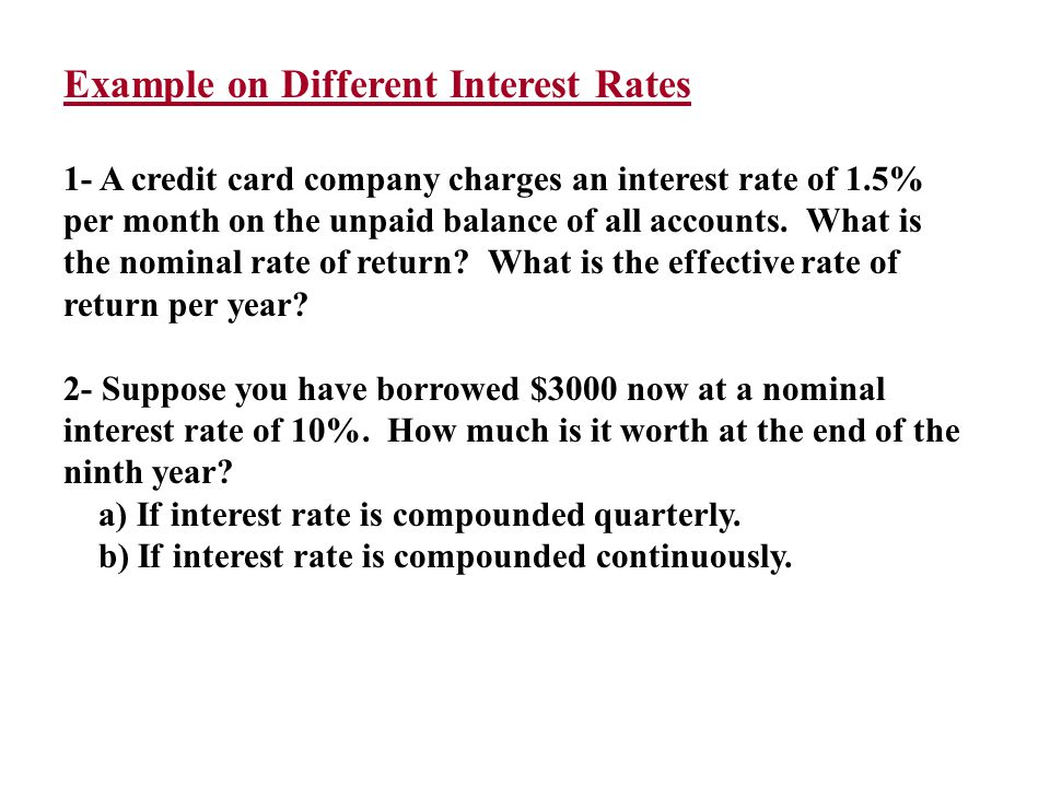 Example on Different Interest Rates