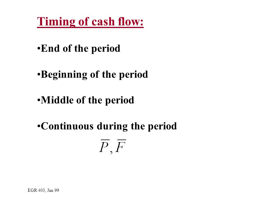 Timing of cash flow: End of the period Beginning of the period