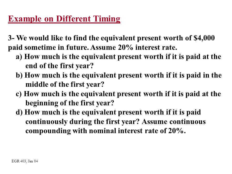 Example on Different Timing