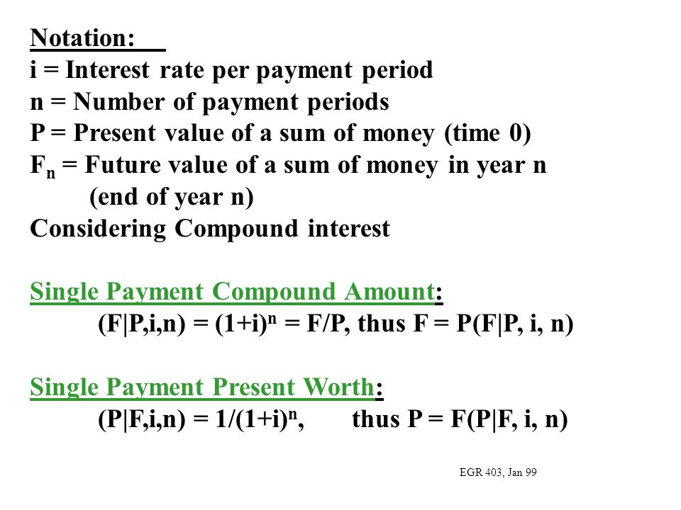 i = Interest rate per payment period n = Number of payment periods