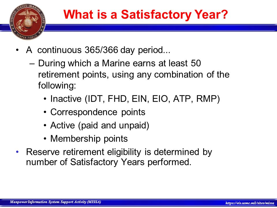 What is a Satisfactory Year