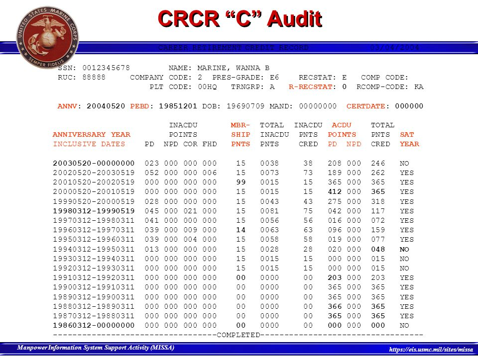 CRCR C Audit CAREER RETIREMENT CREDIT RECORD 03/04/2004