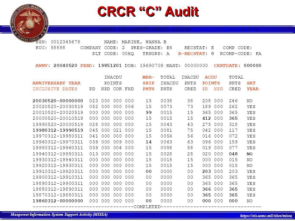 CRCR C Audit CAREER RETIREMENT CREDIT RECORD 03/04/2004