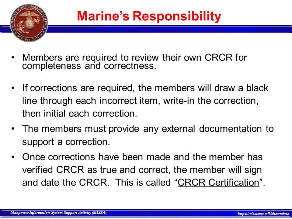 Marine's Responsibility