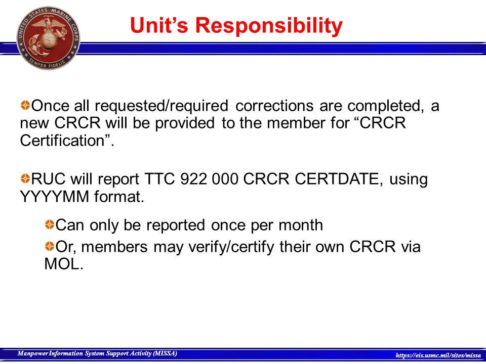 Unit's Responsibility