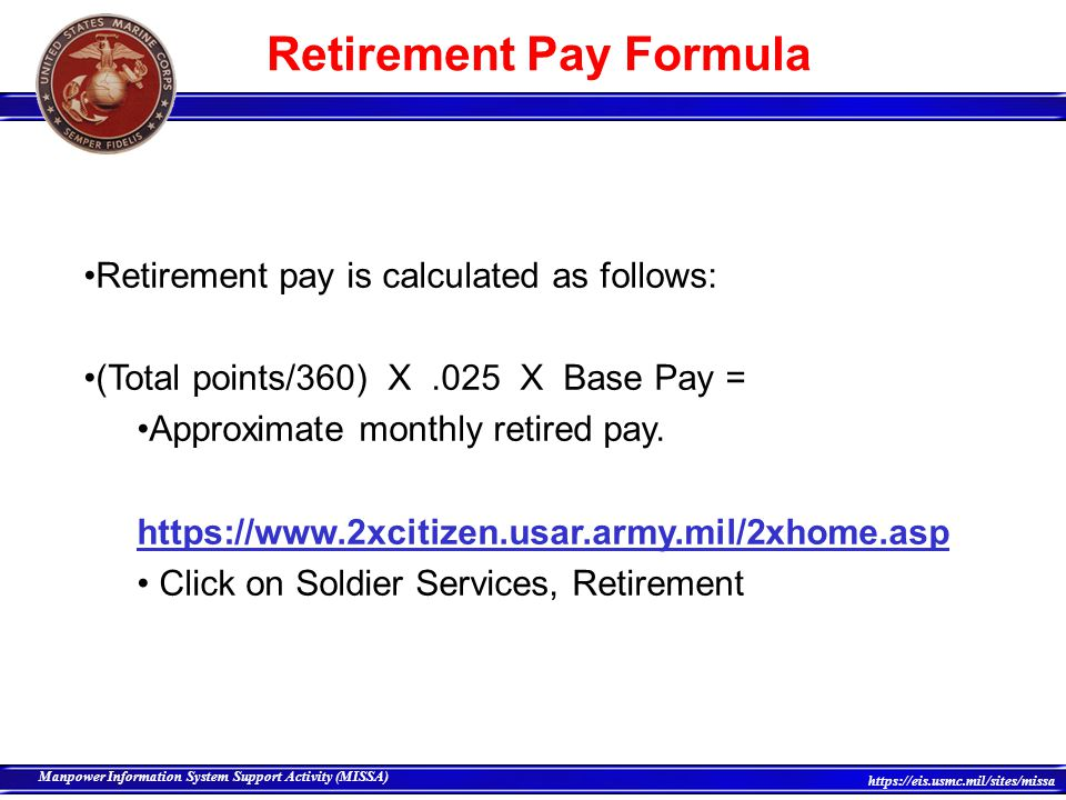 Retirement Pay Formula