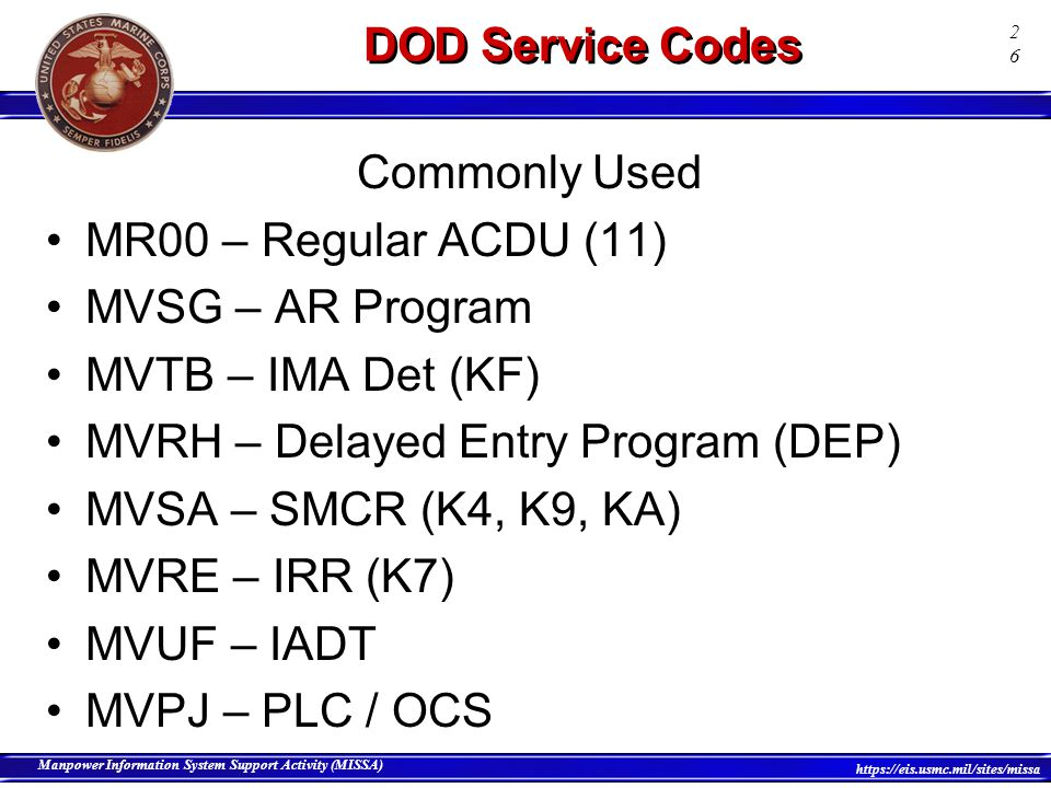 DOD Service Codes Commonly Used. MR00 – Regular ACDU (11) MVSG – AR Program. MVTB – IMA Det (KF)