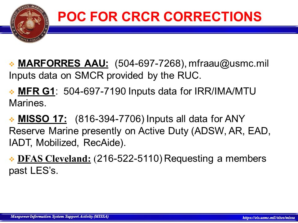 POC FOR CRCR CORRECTIONS