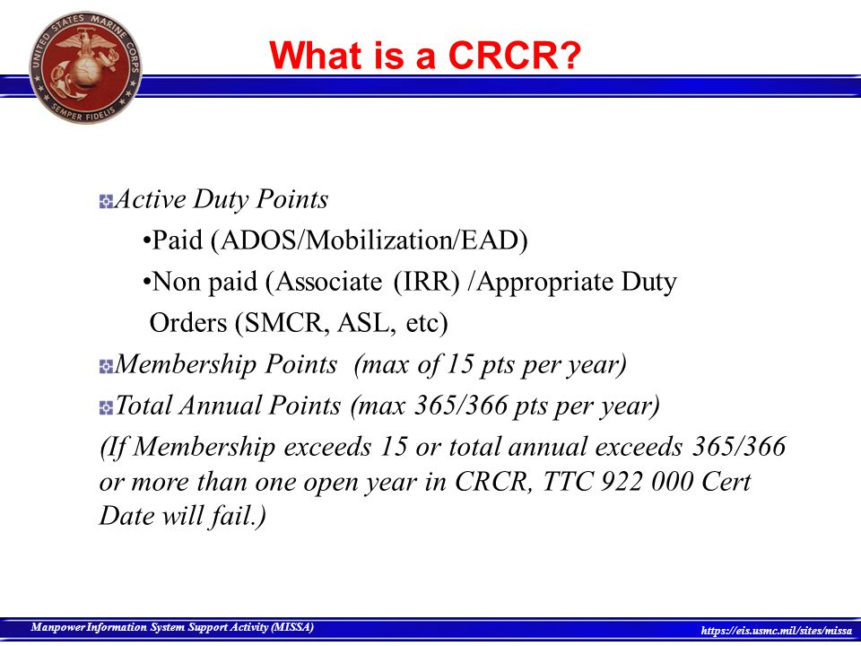 What is a CRCR Active Duty Points Paid (ADOS/Mobilization/EAD)