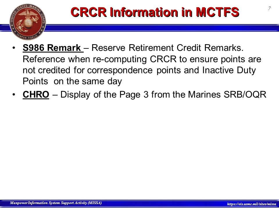 CRCR Information in MCTFS