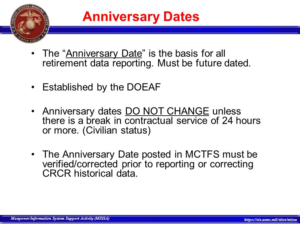 Anniversary Dates The Anniversary Date is the basis for all retirement data reporting. Must be future dated.
