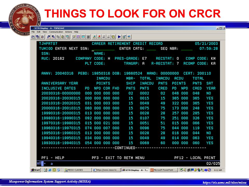 THINGS TO LOOK FOR ON CRCR