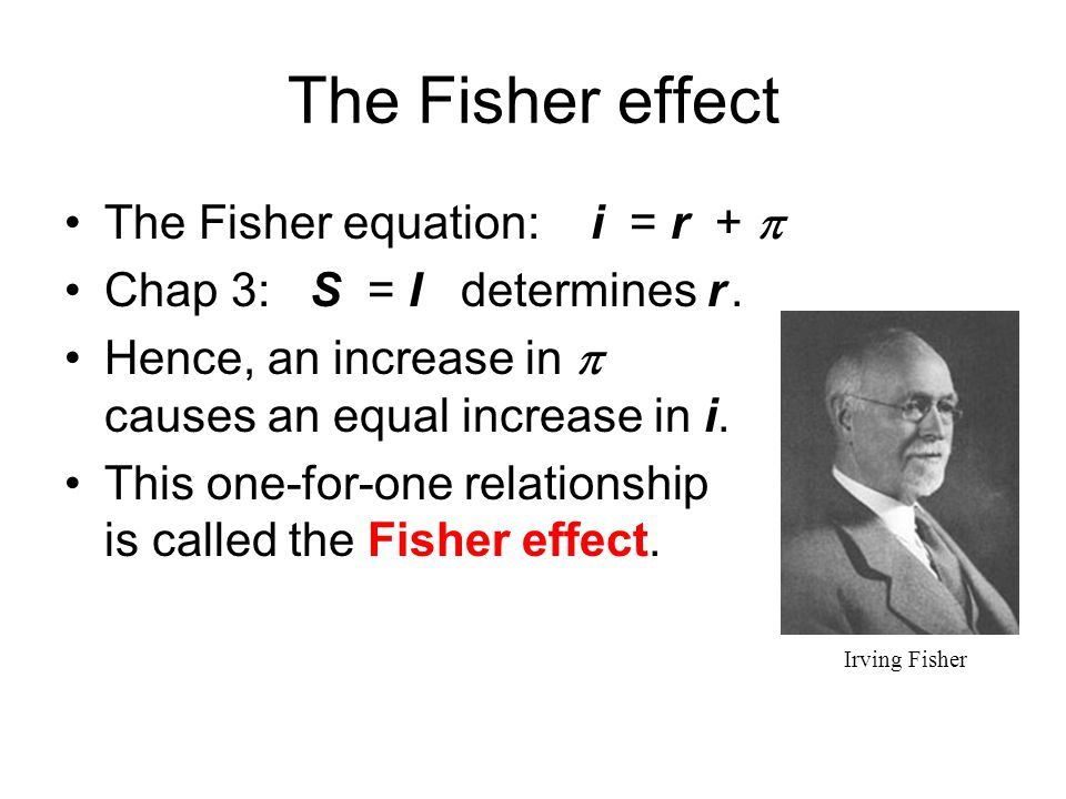 The Fisher effect The Fisher equation: i = r + 