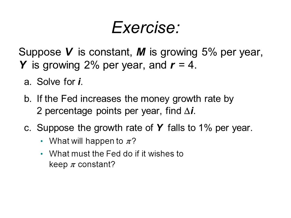 Exercise: Suppose V is constant, M is growing 5% per year, Y is growing 2% per year, and r = 4.