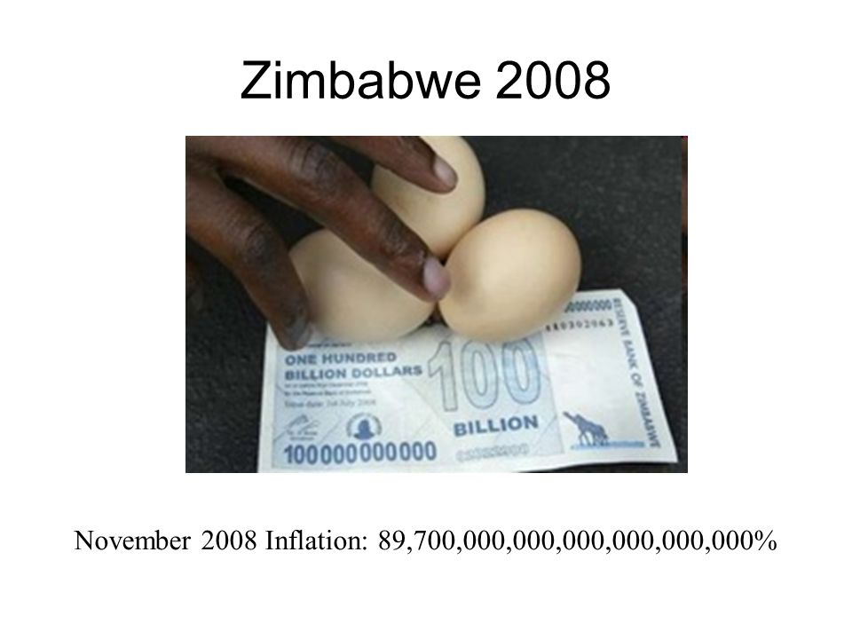 Zimbabwe 2008 November 2008 Inflation: 89,700,000,000,000,000,000,000%