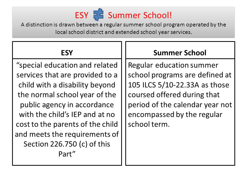 ESY Summer School! A distinction is drawn between a regular summer school program operated by the local school district and extended school year services.