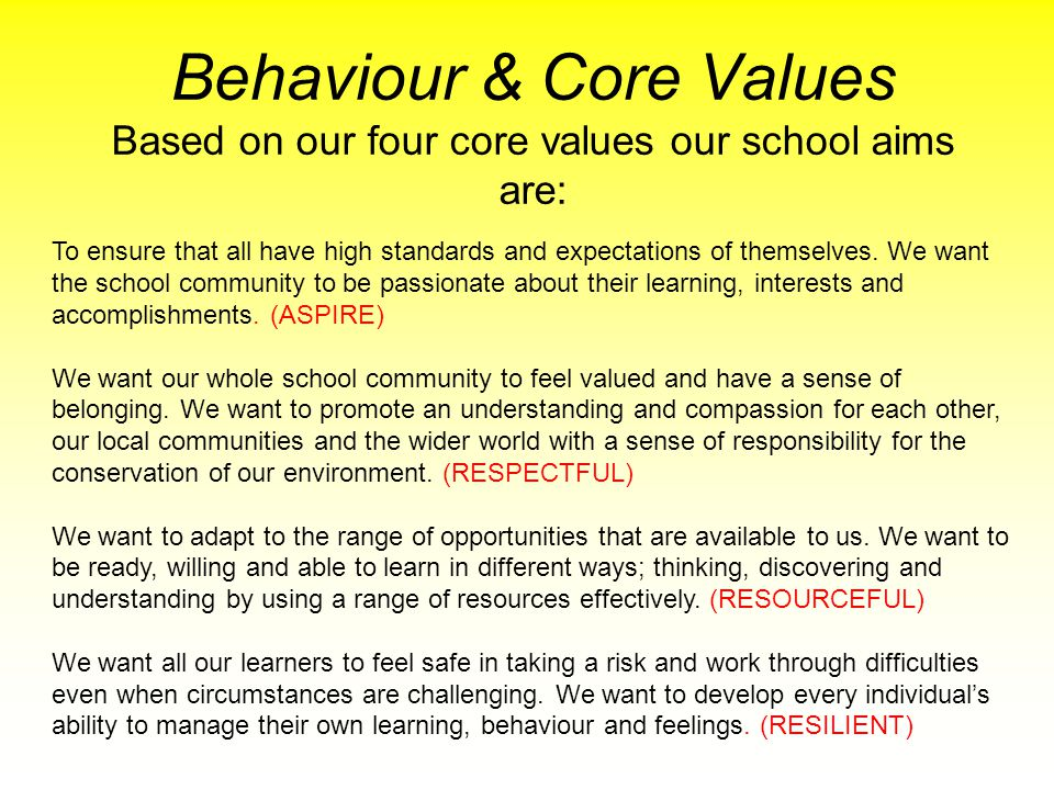 Behaviour & Core Values Based on our four core values our school aims are: