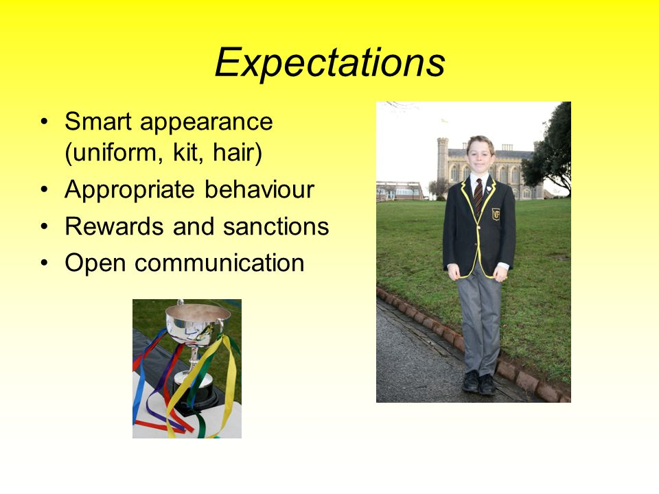Expectations Smart appearance (uniform, kit, hair)
