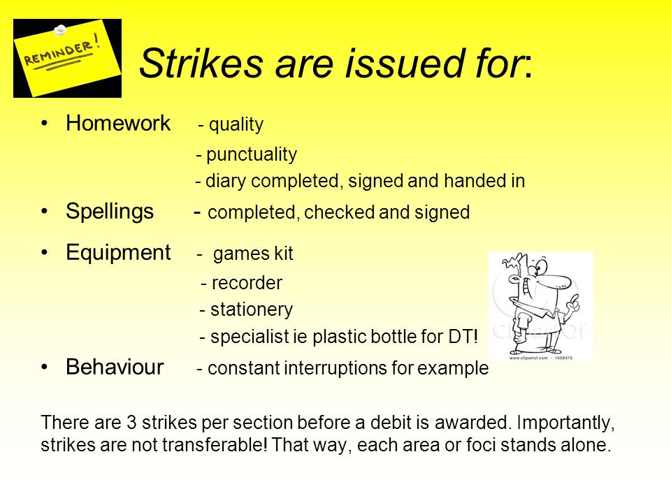 Strikes are issued for: