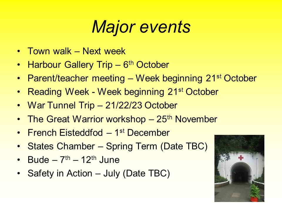 Major events Town walk – Next week Harbour Gallery Trip – 6th October