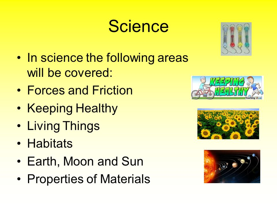 Science In science the following areas will be covered: