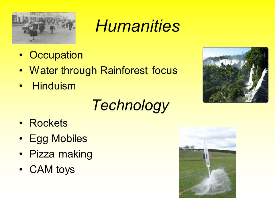 Humanities Technology Occupation Water through Rainforest focus