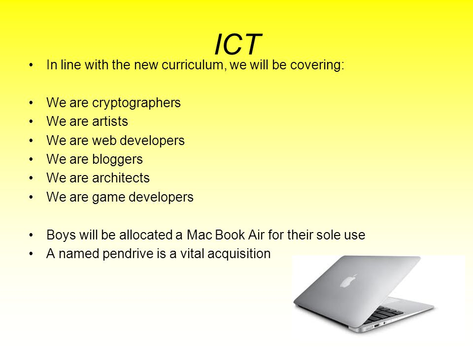 ICT In line with the new curriculum, we will be covering: