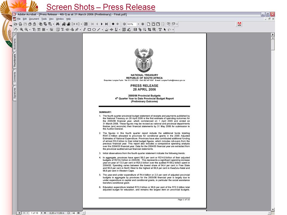 Screen Shots – Press Release