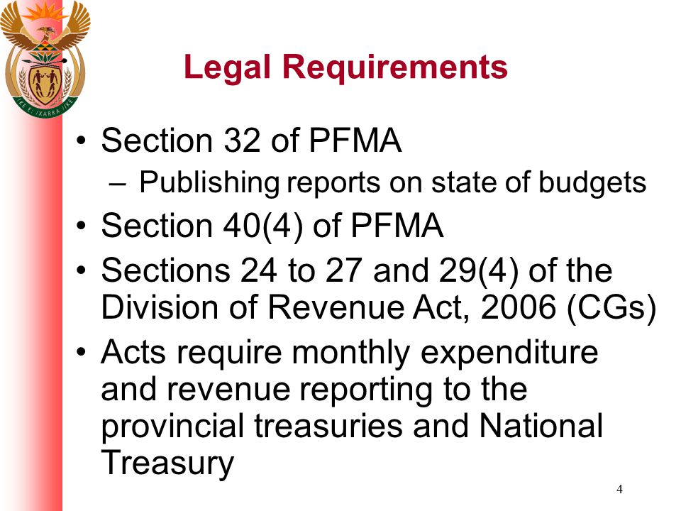 Sections 24 to 27 and 29(4) of the Division of Revenue Act, 2006 (CGs)