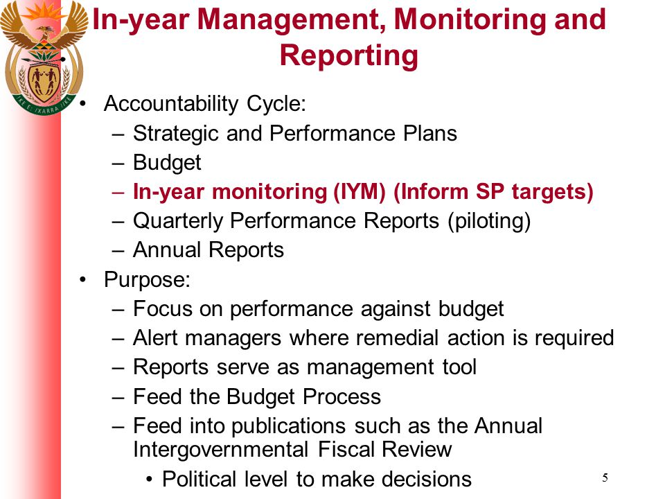 In-year Management, Monitoring and Reporting