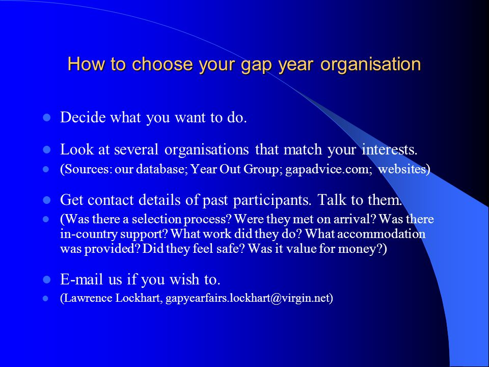 How to choose your gap year organisation