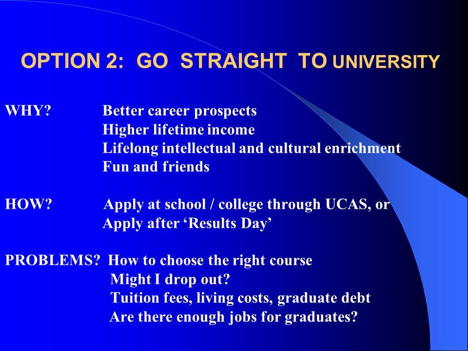 OPTION 2: GO STRAIGHT TO UNIVERSITY