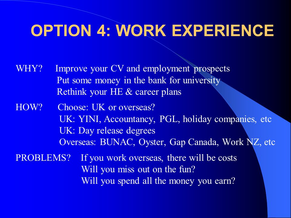 OPTION 4: WORK EXPERIENCE