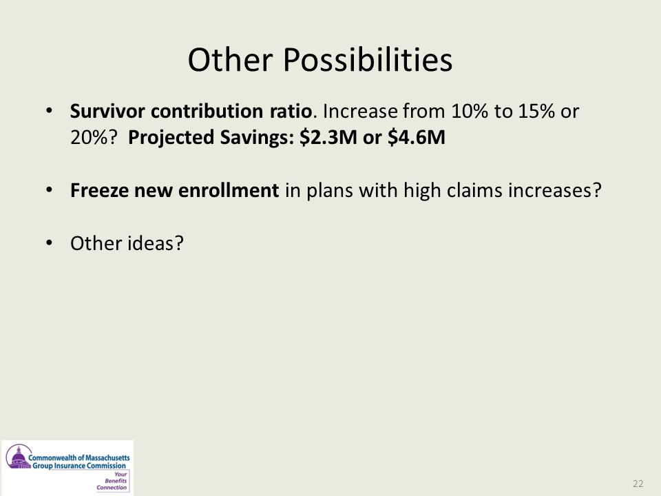 Other Possibilities Survivor contribution ratio. Increase from 10% to 15% or 20% Projected Savings: $2.3M or $4.6M.