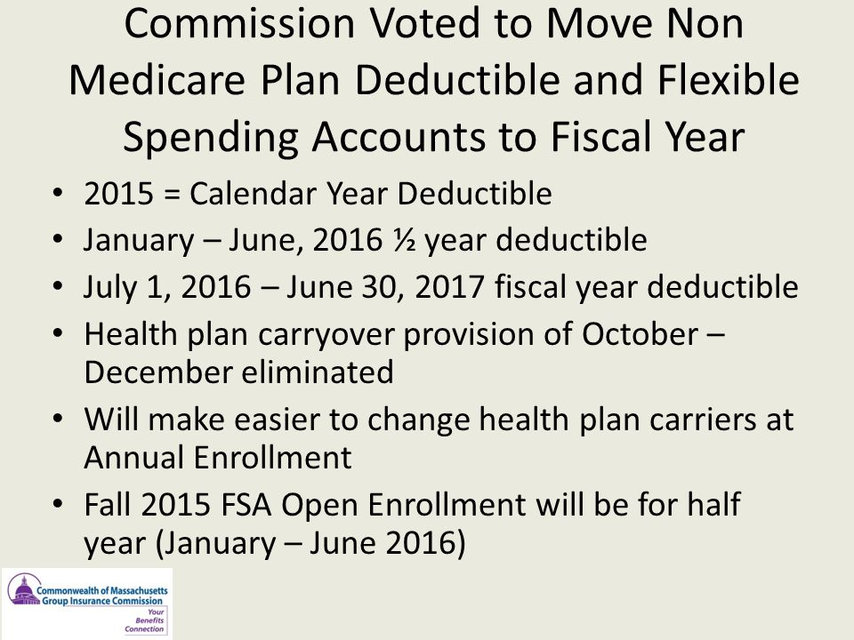 Commission Voted to Move Non Medicare Plan Deductible and Flexible Spending Accounts to Fiscal Year