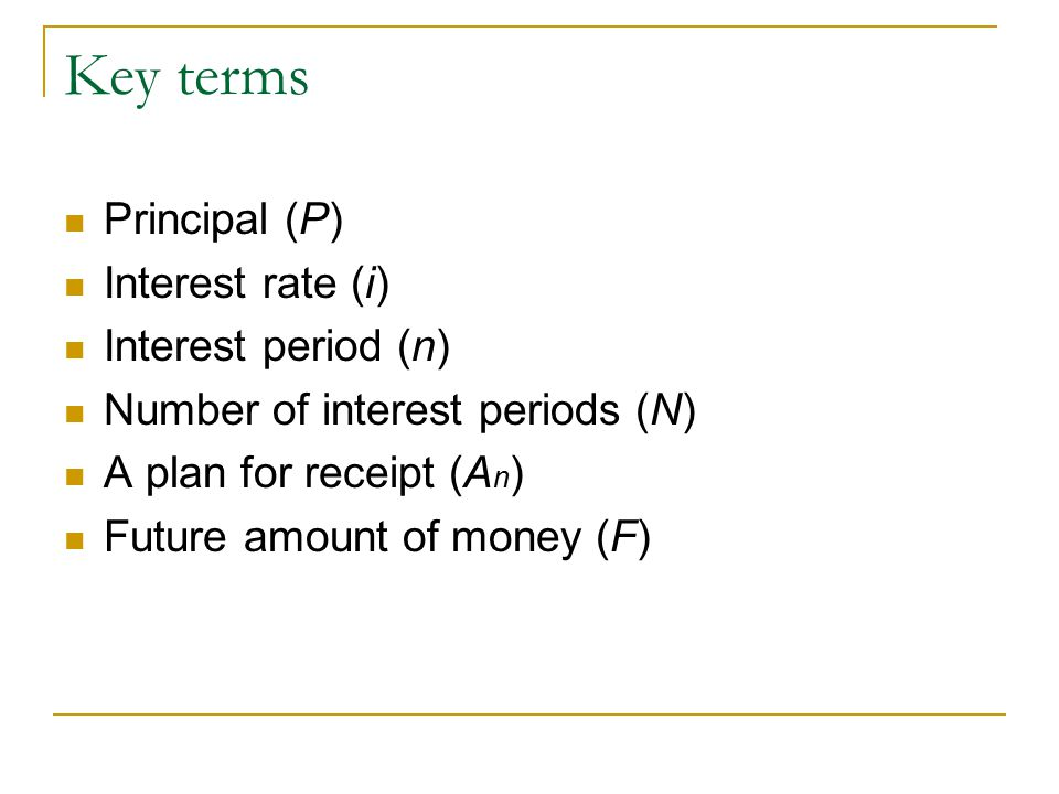 Key terms Principal (P) Interest rate (i) Interest period (n)