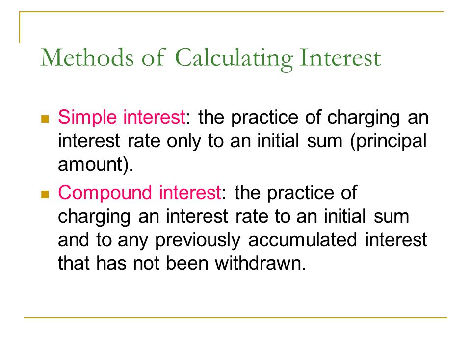 Methods of Calculating Interest
