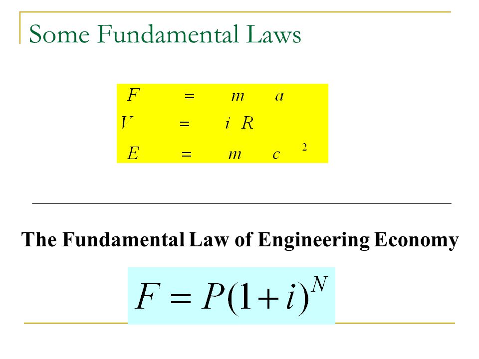 Some Fundamental Laws The Fundamental Law of Engineering Economy