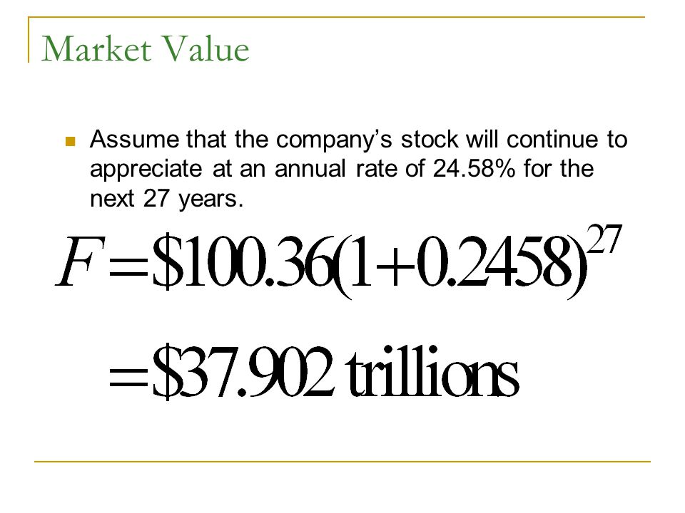 Market Value Assume that the company's stock will continue to appreciate at an annual rate of 24.58% for the next 27 years.