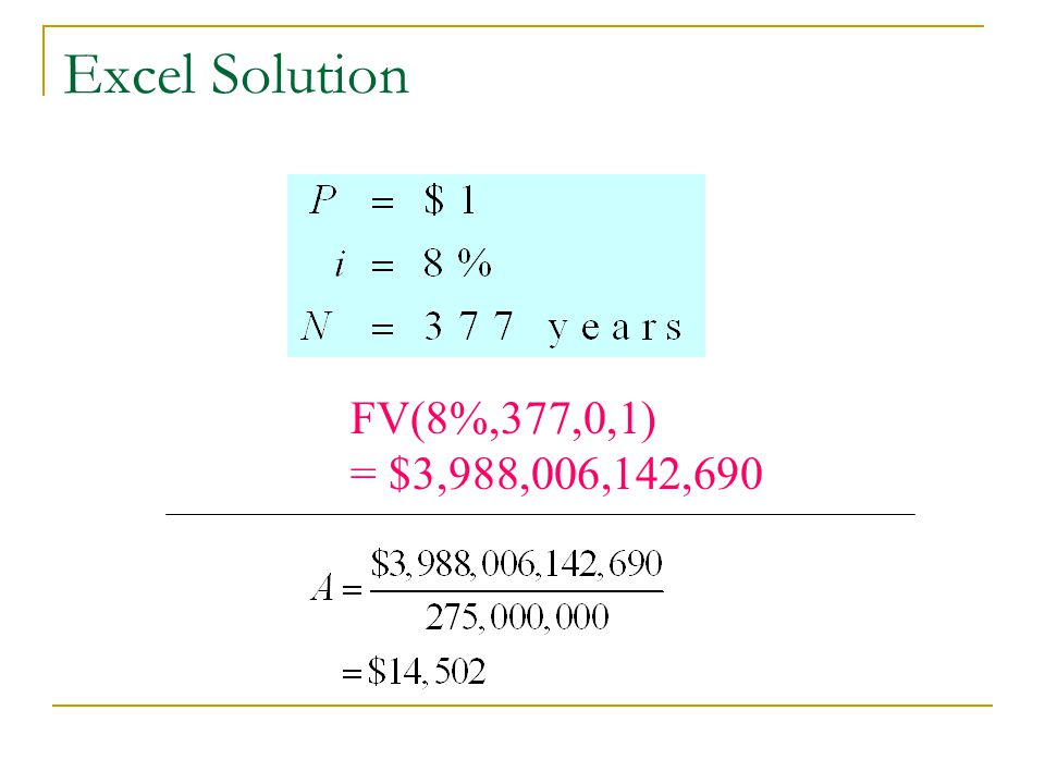 Excel Solution FV(8%,377,0,1) = $3,988,006,142,690