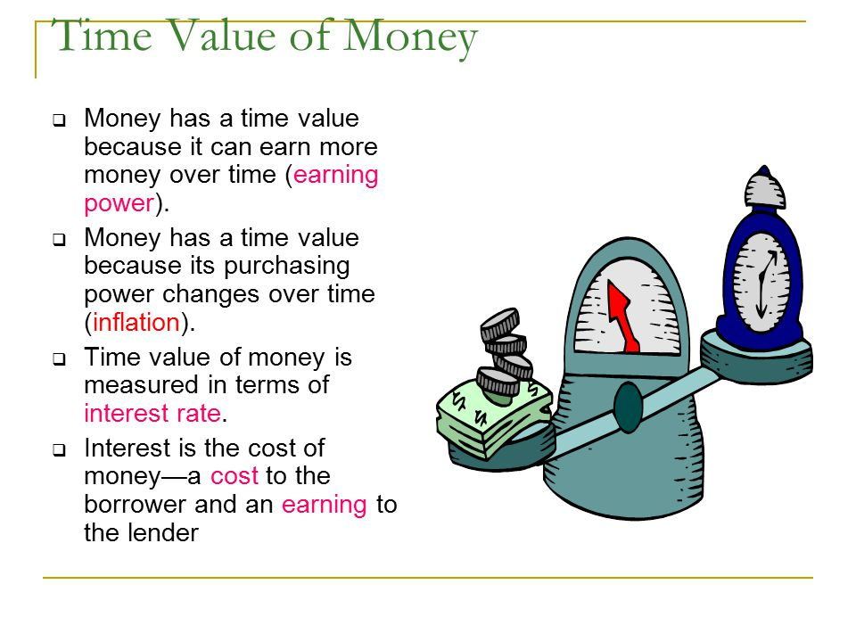 Time Value of Money Money has a time value because it can earn more money over time (earning power).