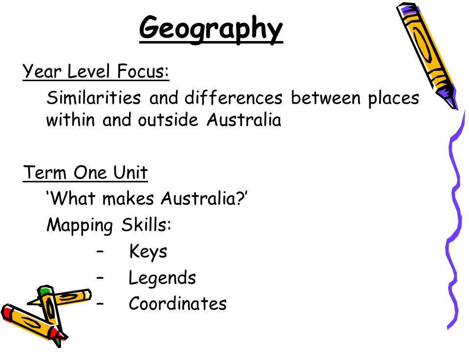 Geography Year Level Focus: