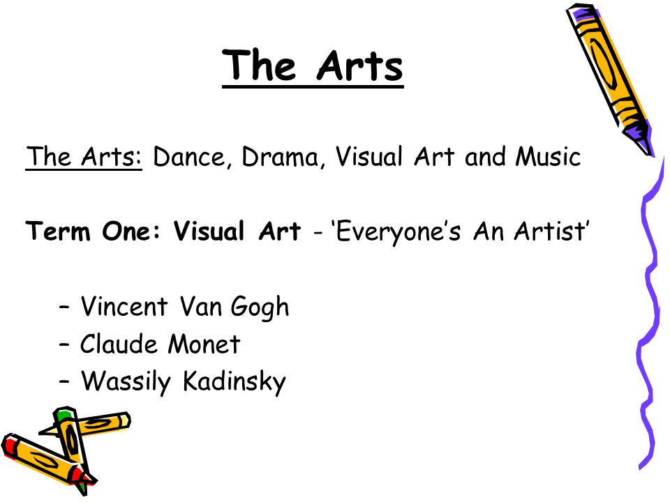 The Arts The Arts: Dance, Drama, Visual Art and Music
