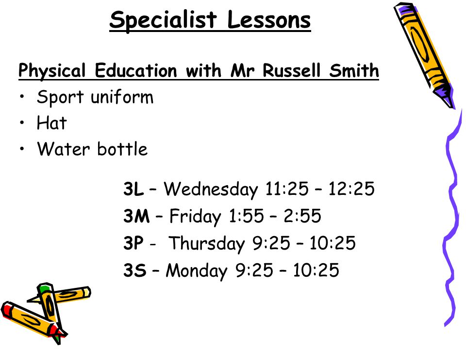 Specialist Lessons Physical Education with Mr Russell Smith