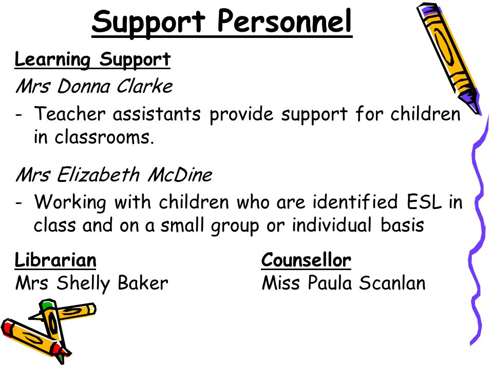 Support Personnel Learning Support Mrs Donna Clarke
