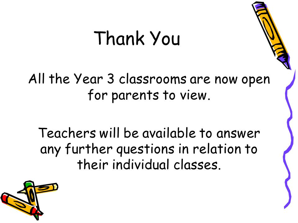 All the Year 3 classrooms are now open for parents to view.