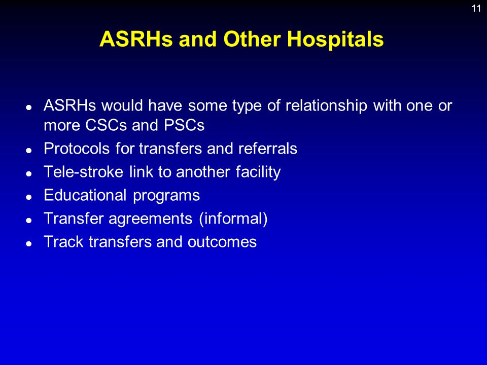 ASRHs and Other Hospitals